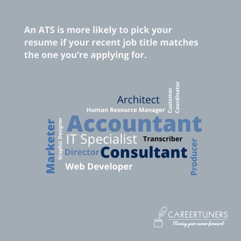 An ATS is more likely to pick your resume if your recent job title matches the one you're applying for. Make it an ATS-compatible resume by adding the relevant job title.